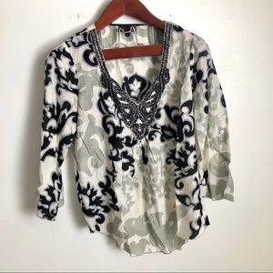 Hale Bob Beaded Embroidery Blouse Top Silk M